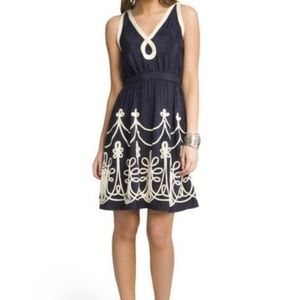 Milly Nautical Rope Dress Size 4 Navy Ivory